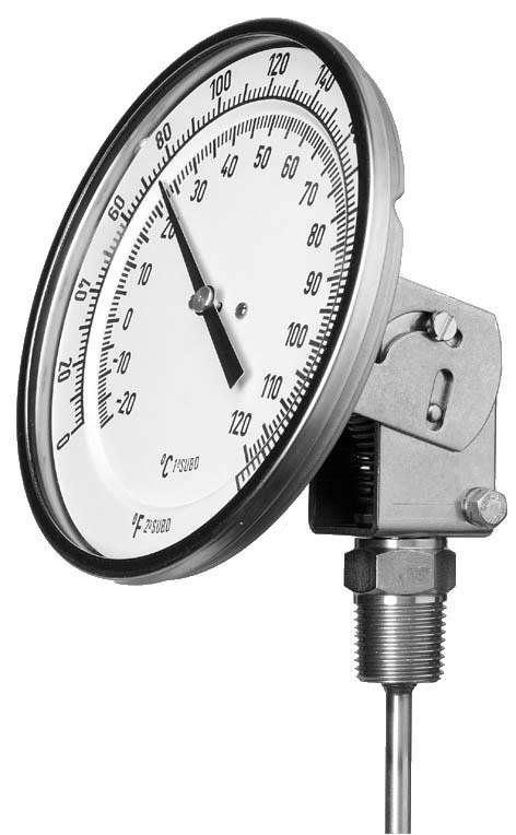 Игольчатый термометр биметаллический с вставкой промышленный max. 600 °C | TM304, TM305  tecsis