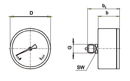 Манометр с трубкой Бурдона игольчатый процесс max. 400 bar | P1410, P1415 series  tecsis
